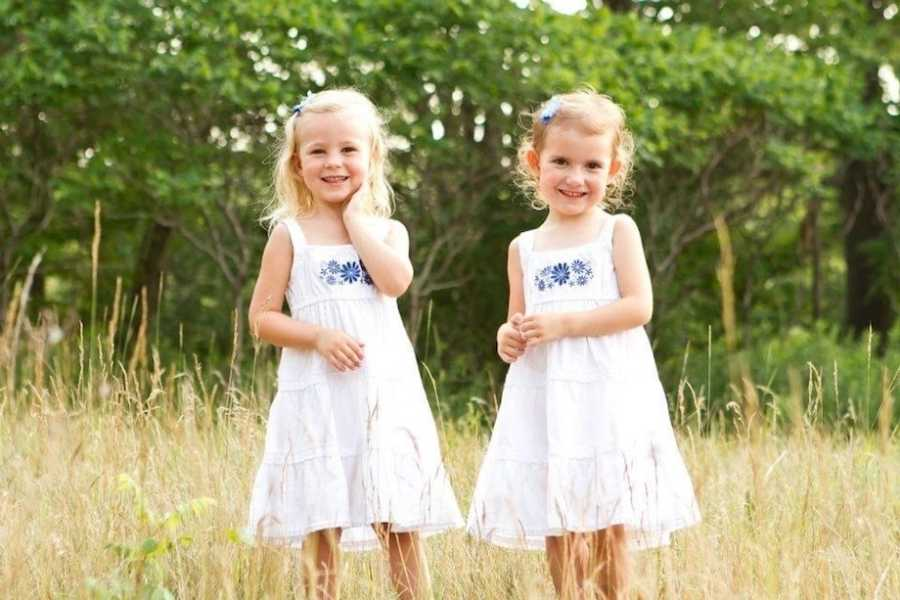 Stepdaughters in field