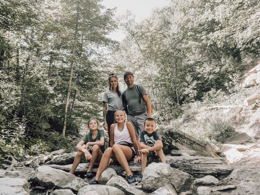 Family photo at rock formation