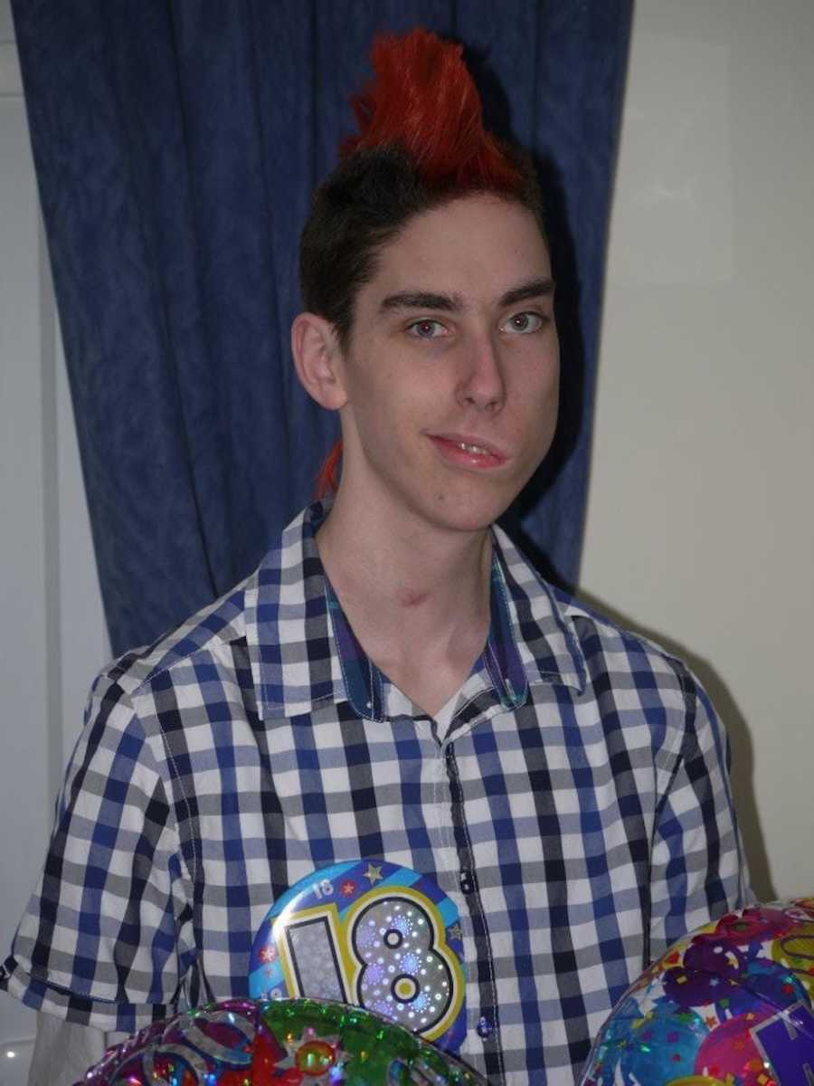 Boy at eighteenth birthdat