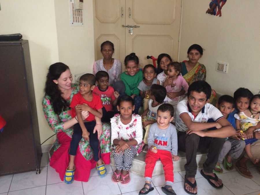 Mom doing outreach in India