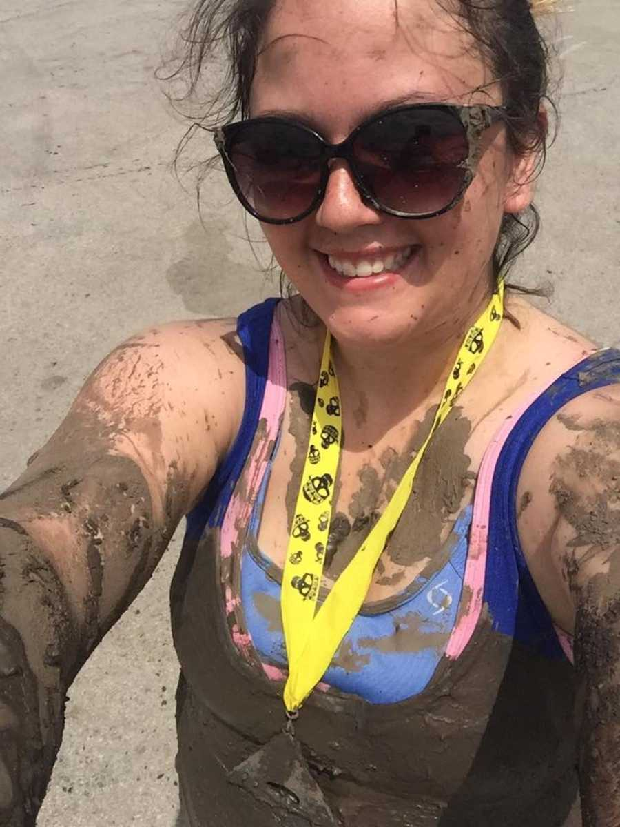 woman after run covered in dirt