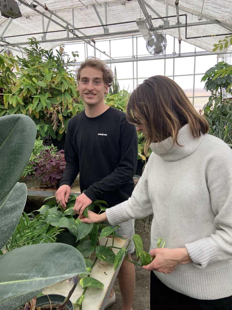 siblings in greenhouse
