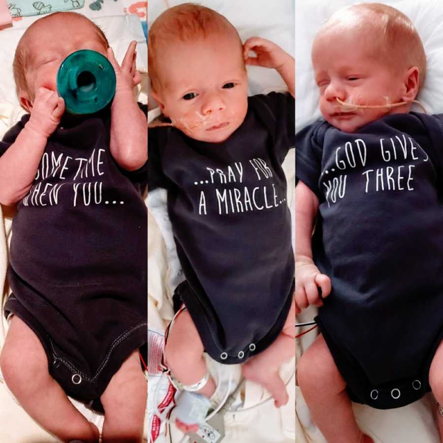 Triplets wearing matching onesies that say 'Sometimes when you pray for a miracle God gives you three'