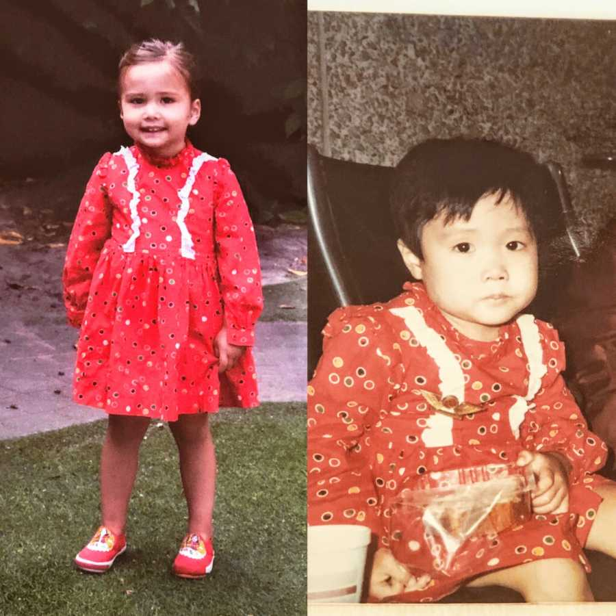 Two girls wear the same polka dot dress as a comparison between the mom when she was a child and her daughter now