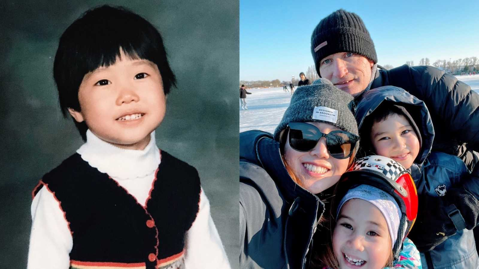 On the left a little girl smiles for a school picture and on the right a family of four all smile for a picture during a ski trip