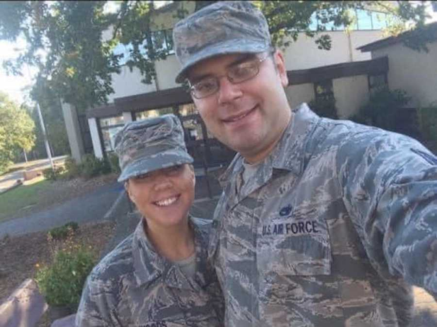 couple in military uniforms