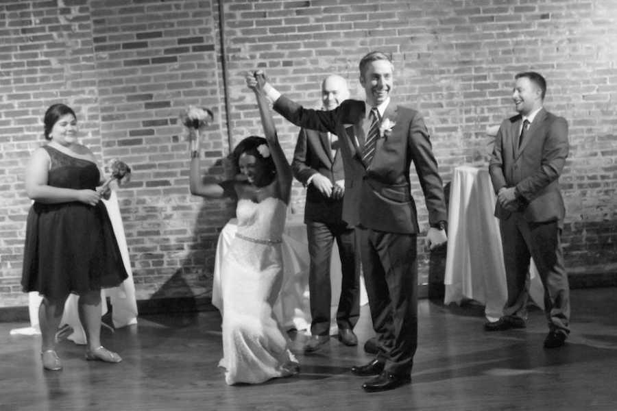 Wedding photos of happy couple