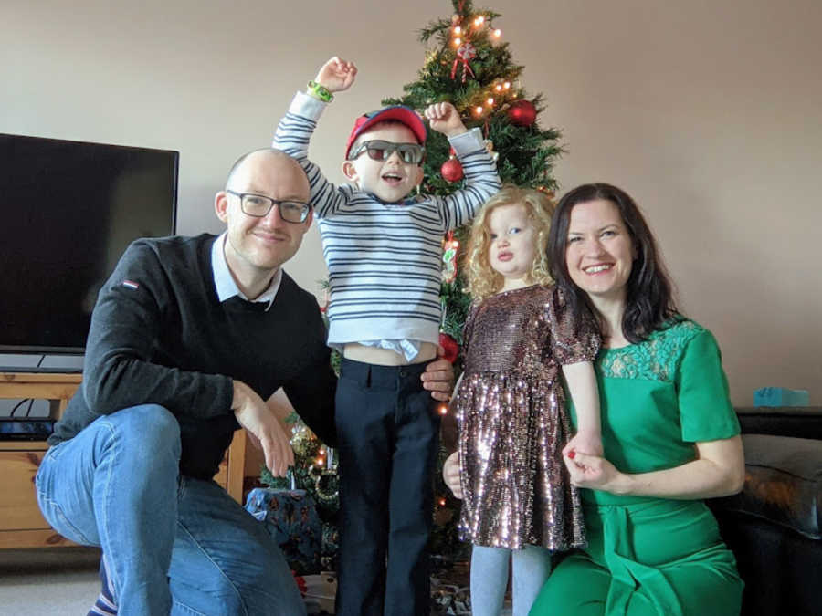 family celebrating at Christmas