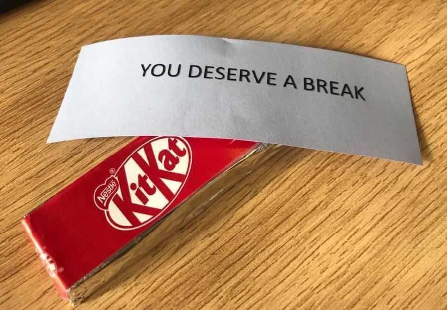 'you deserve a break' candy, kit-kat, act of kindness