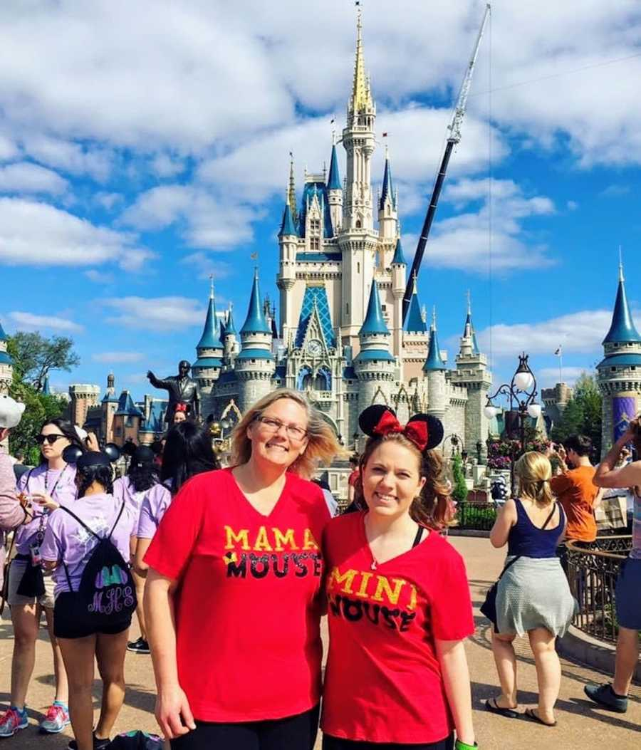Mother and daughter wearing red shirts at Disney World