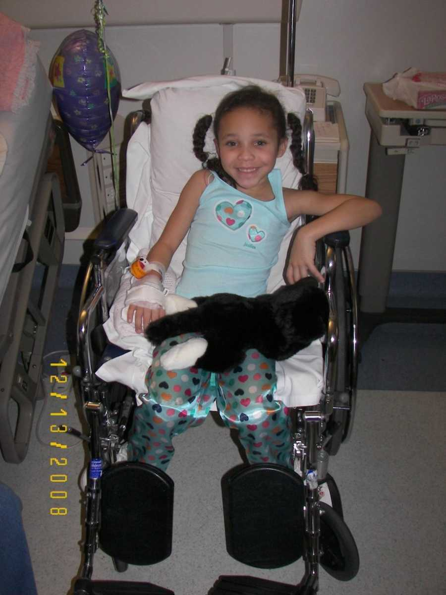 Little girl in wheelchair at hospital