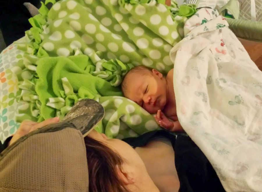 mom and newborn son