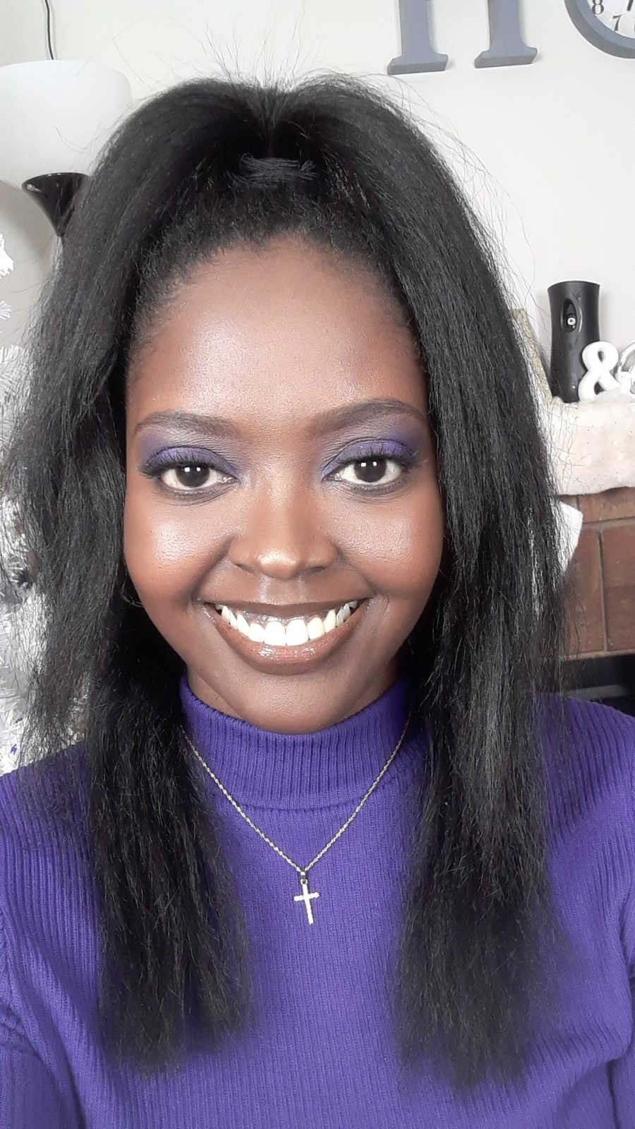 woman in purple for Lupus Month