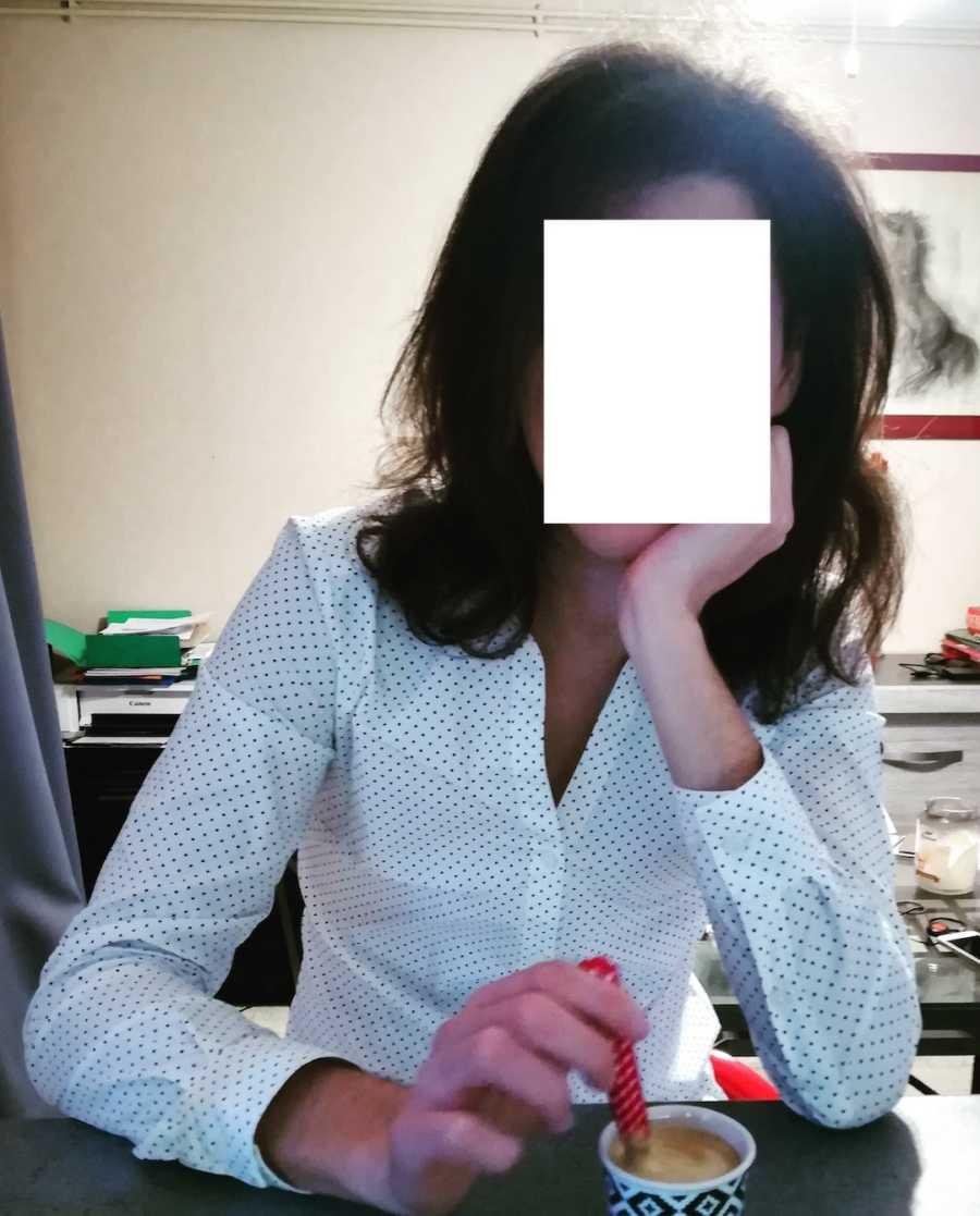 transgender woman in blouse