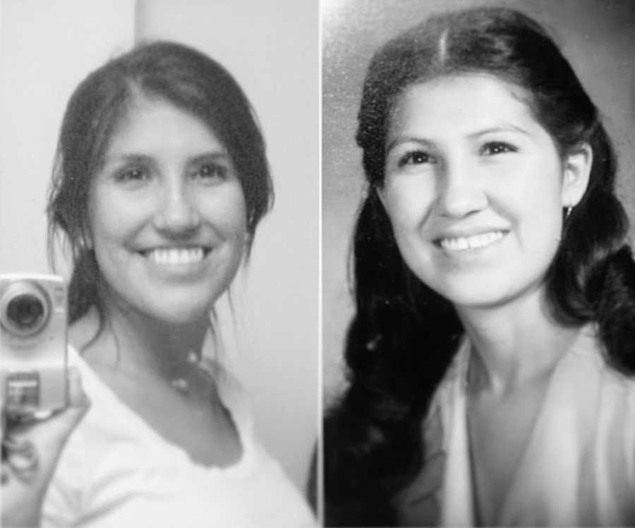 Side by side black and white photo of mother and daughter at same age