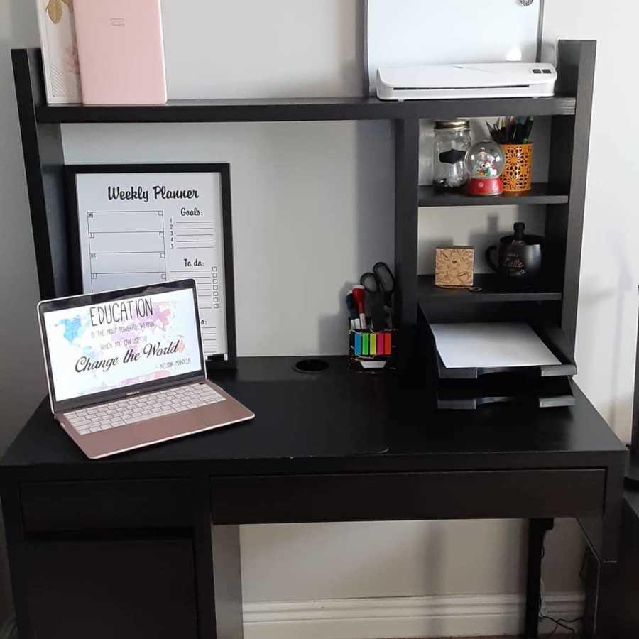 desk set up for work