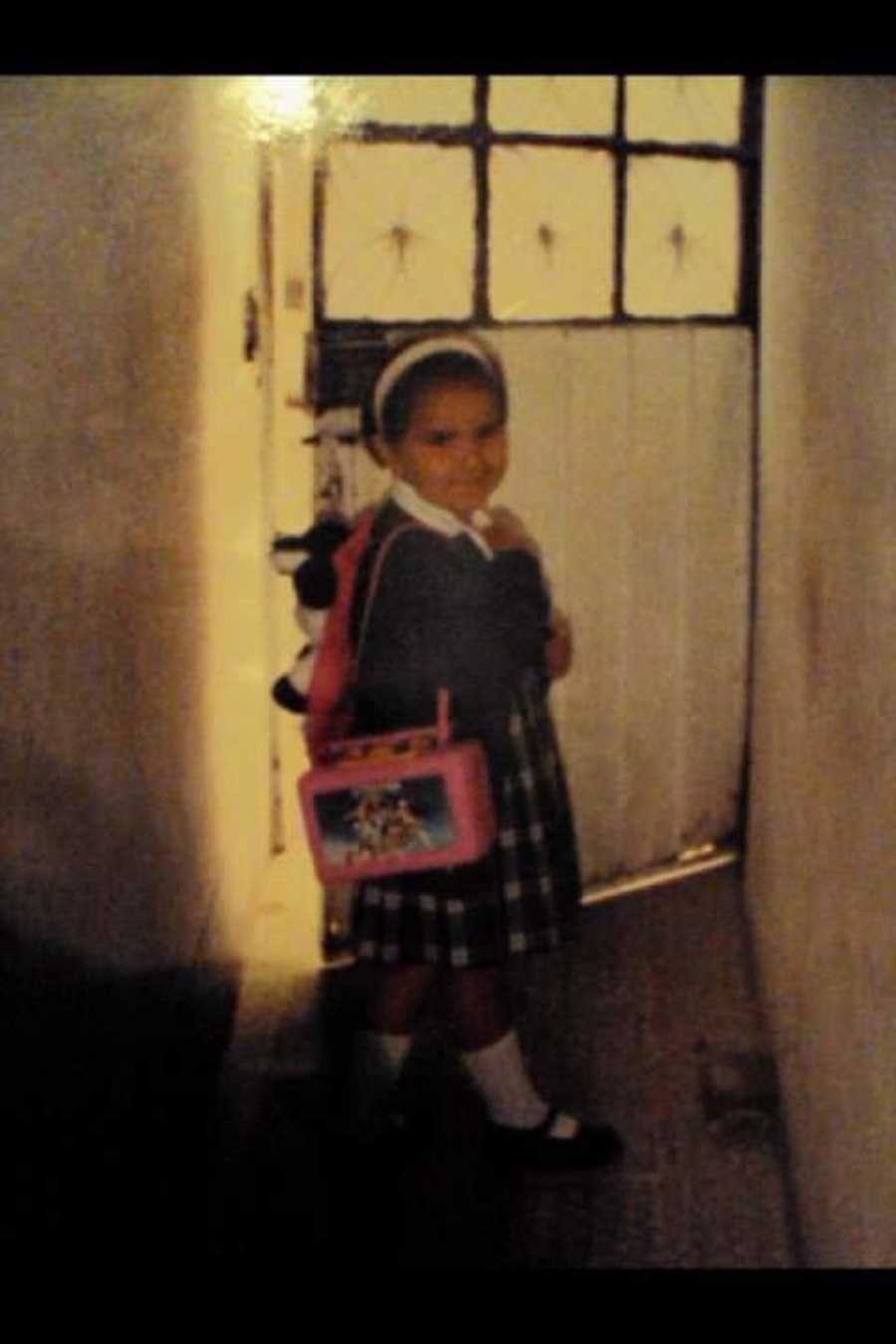 Photo of young girl going to school