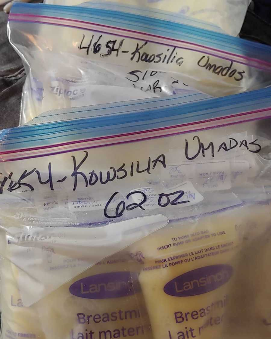 bags of breast milk to donate