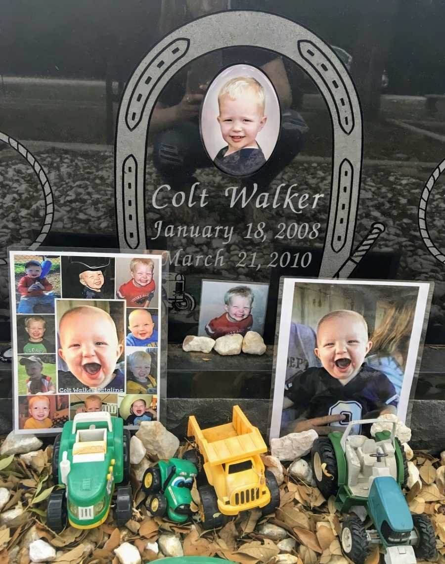 A memorial for a drowning victim featuring pictures and toys