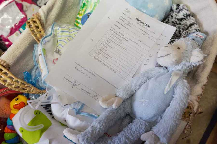 request form with stuffed animal