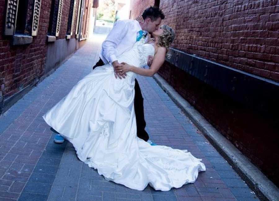 husband and groom on wedding day