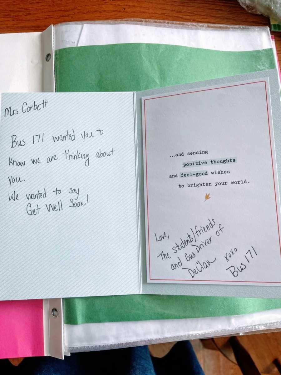A get well soon card to a woman battling cancer from her son's bus driver
