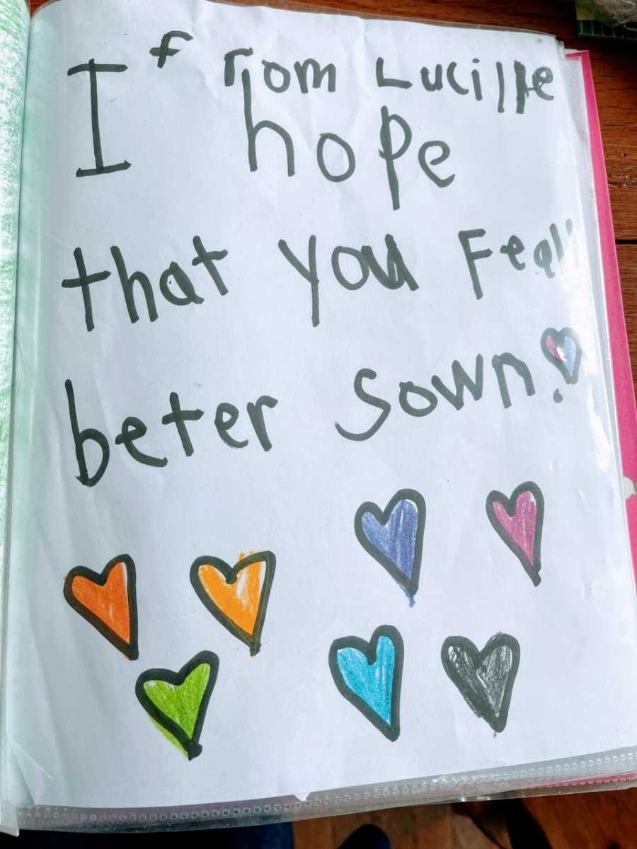 A get well note from a elementary schooler that says 'I hope that you feel better soon!'
