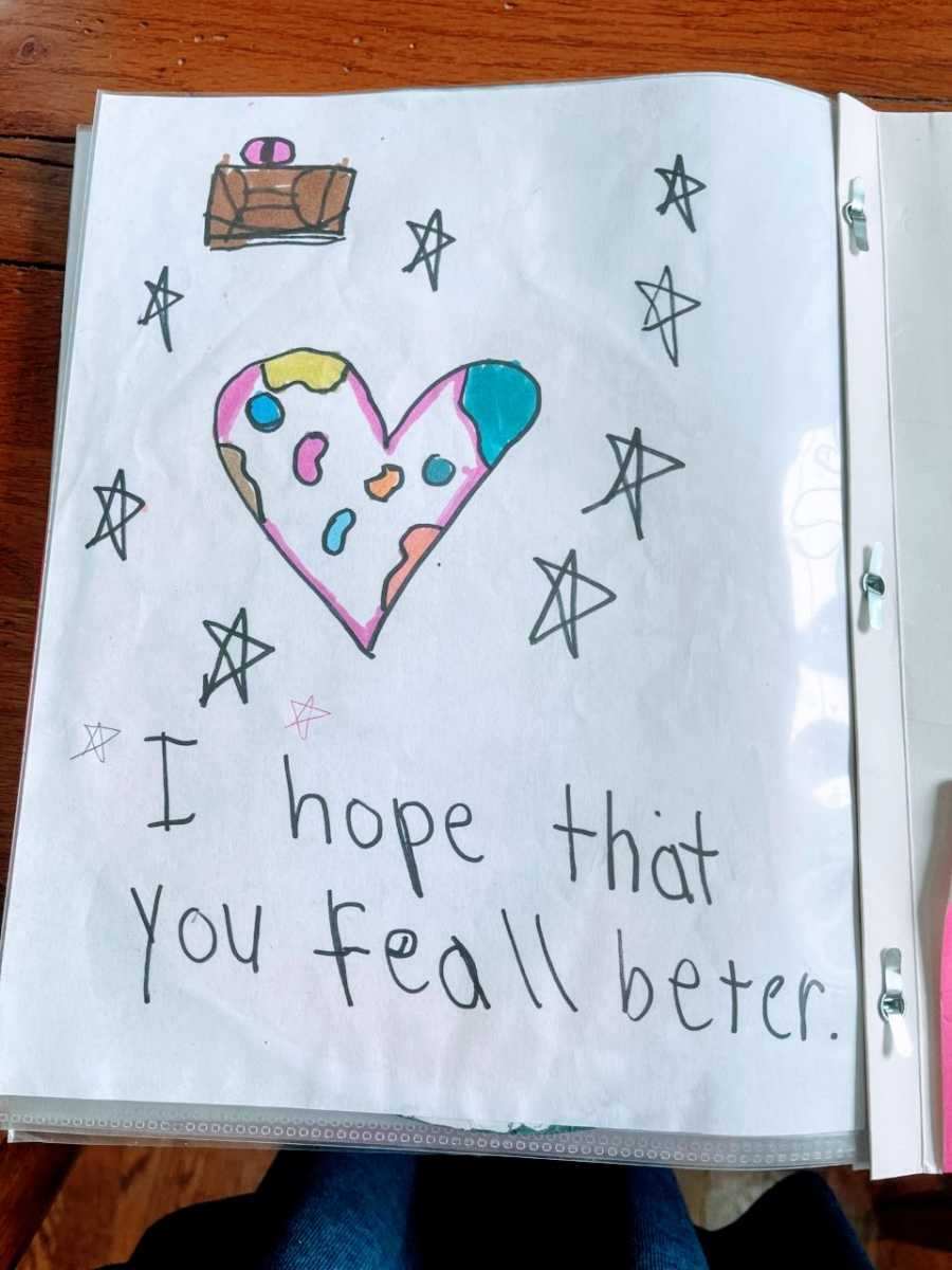 A get well note that says 'I hope that you feel better' from an elementary schooler