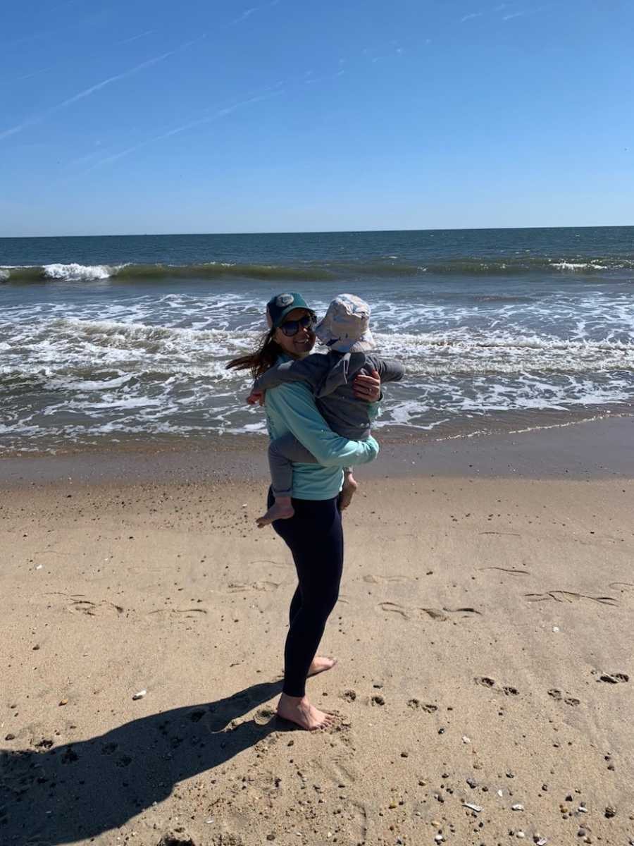 Mom and son at beach