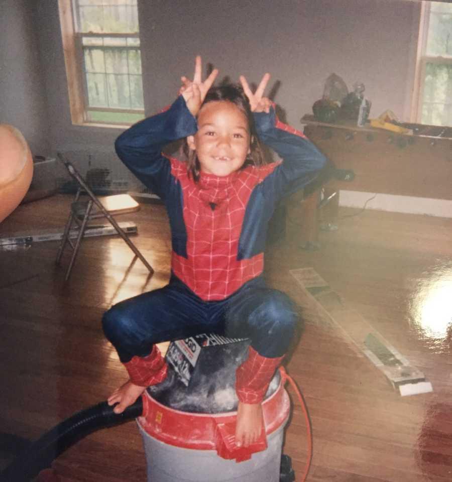 kid in spiderman costume