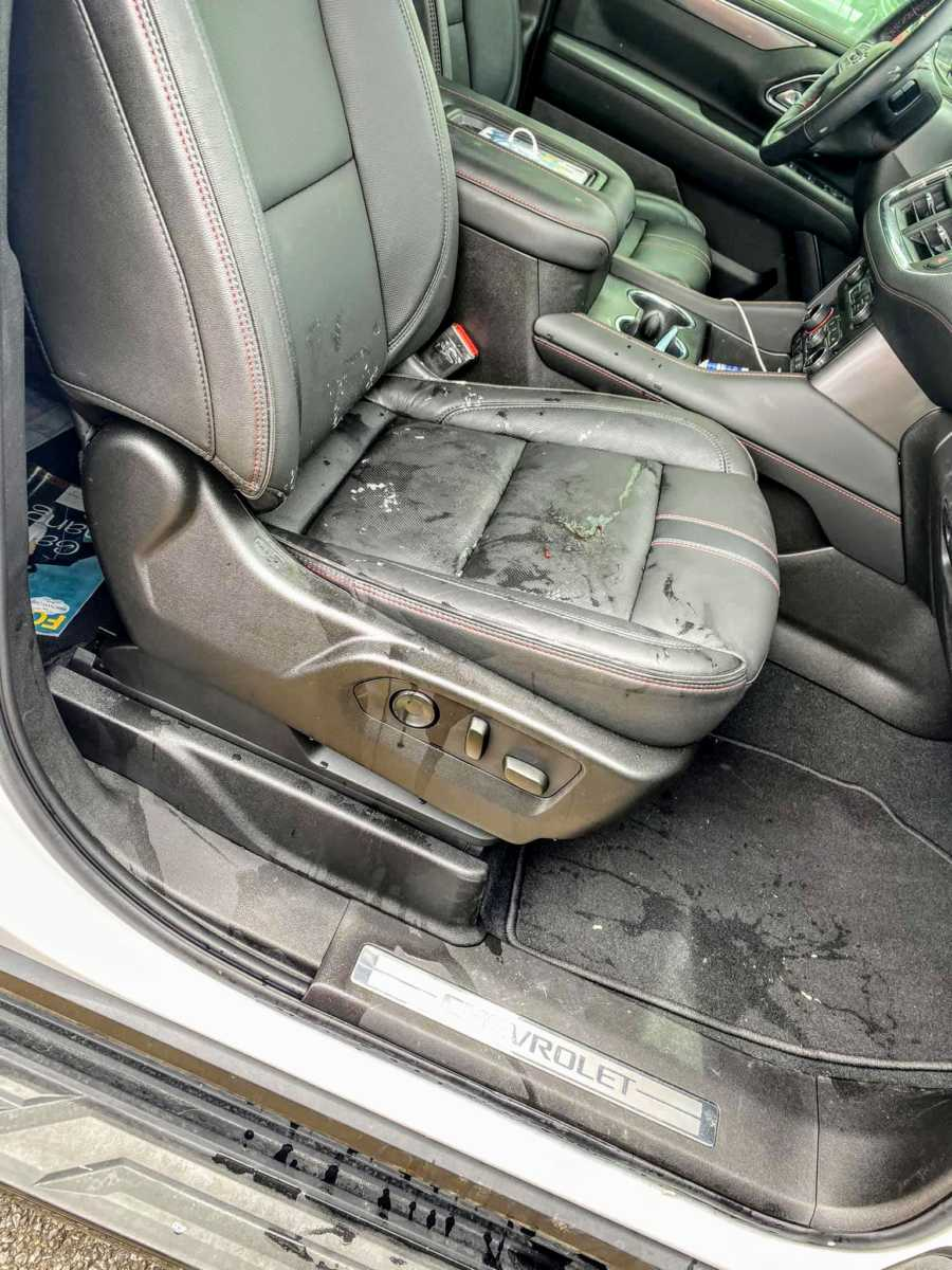 Woman snaps a photo of the aftermath of giving birth in her new car