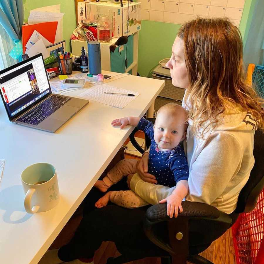 Mom finishing college with baby
