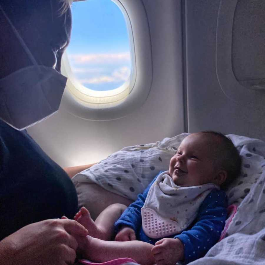 Mom and daughter on plane trip