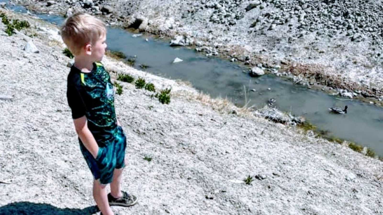 Mom snaps photo of young boy with hidden disability marveling at the scenery