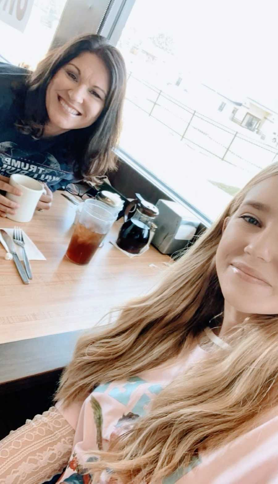 Mom enjoys a nice breakfast out with her daughter