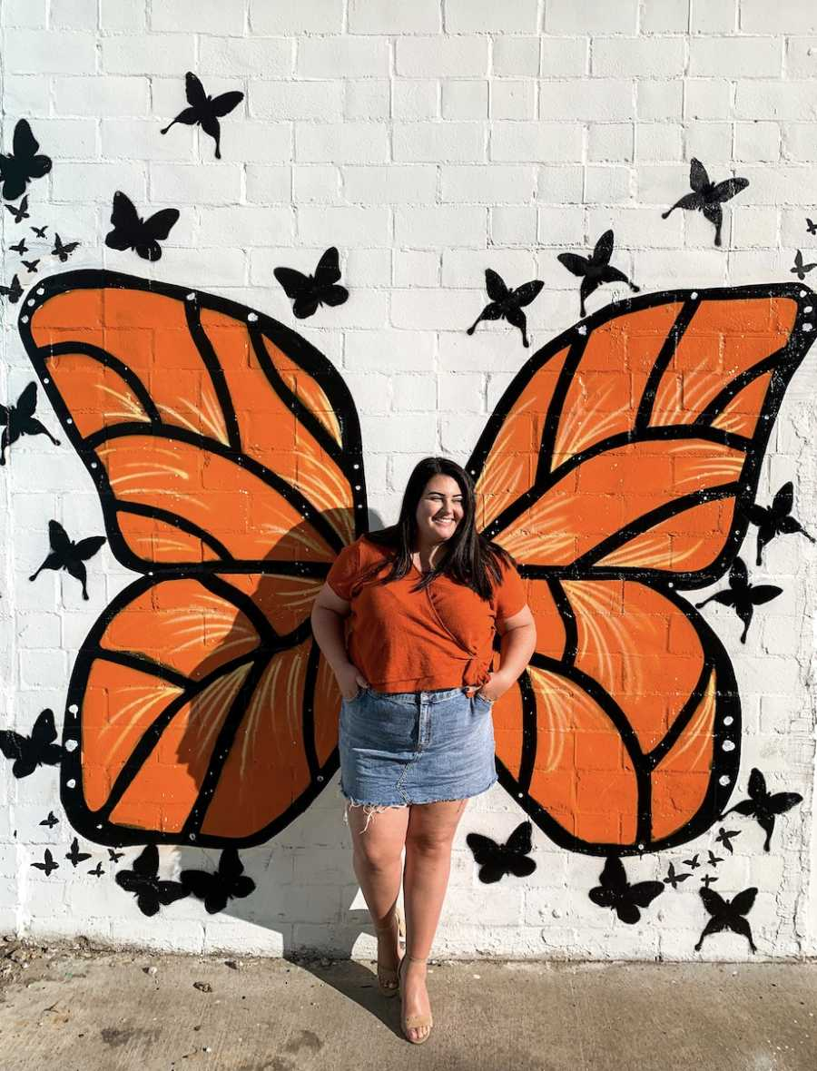 Woman with butterfly background