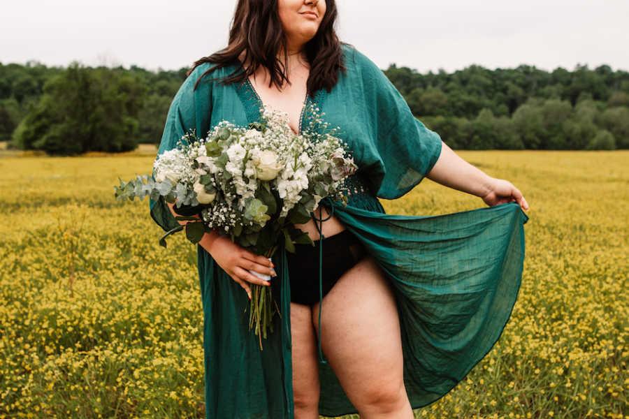 Woman posing in period underwear