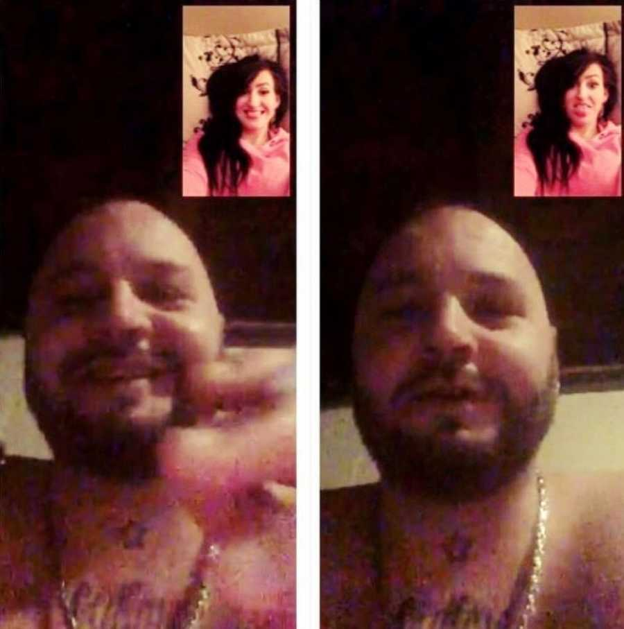 Couple in long distance relationship take silly selfies over FaceTime
