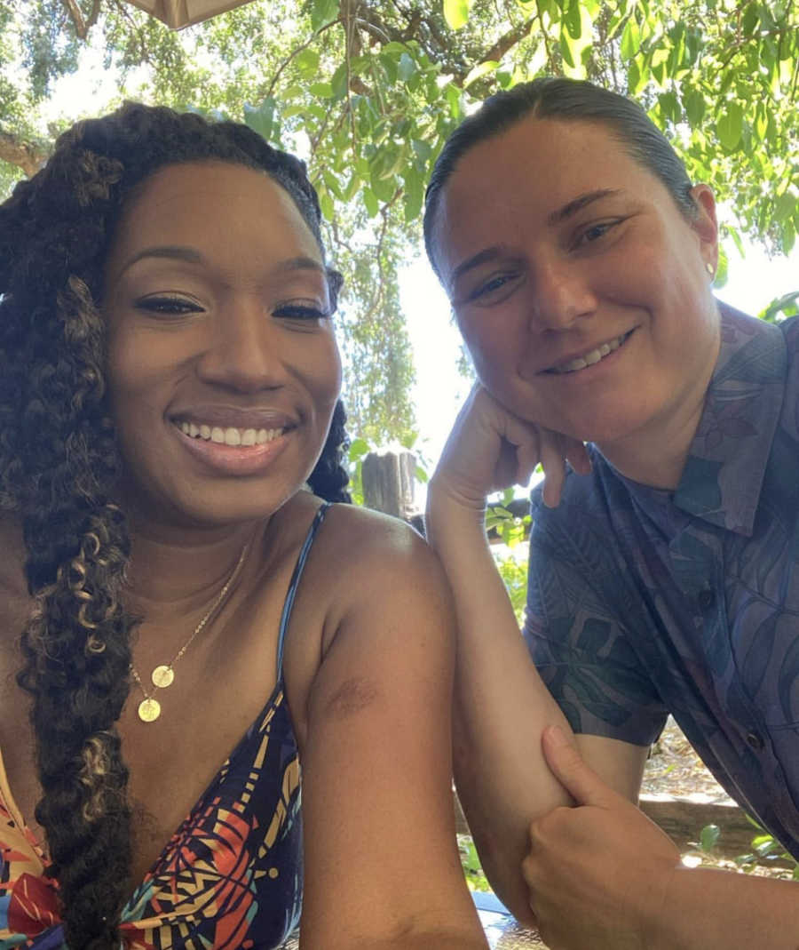 Mixed race lesbian couple