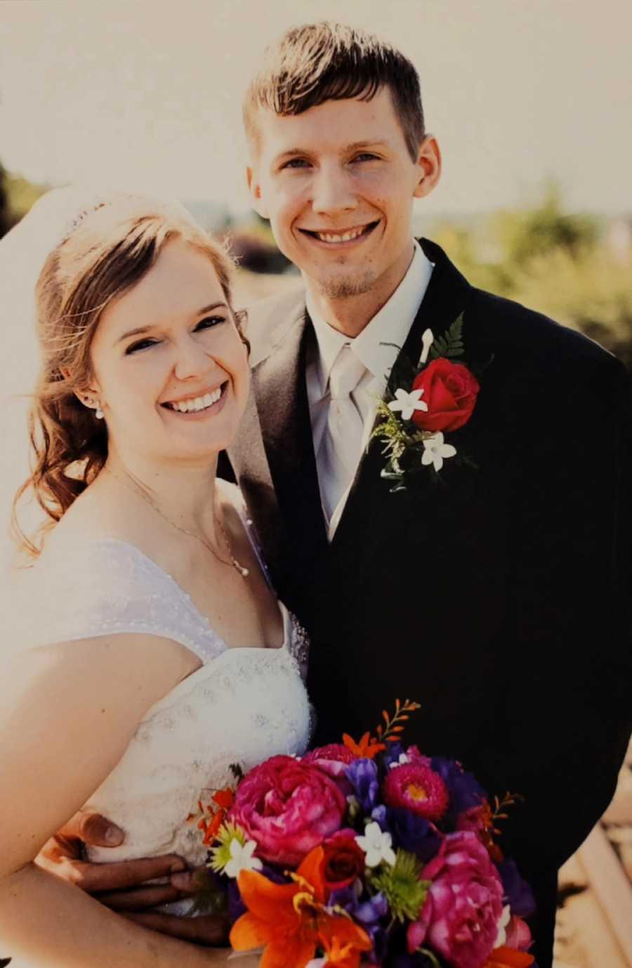 young couple on wedding day