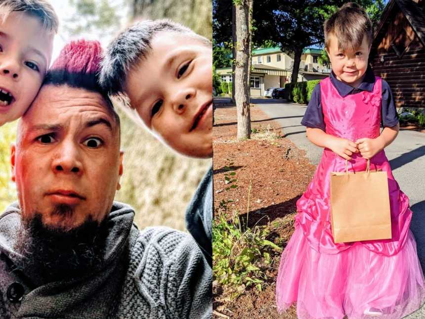 On the left, dad takes a silly selfie with his sons, on the right, one of his sons shyly wears a pink dress
