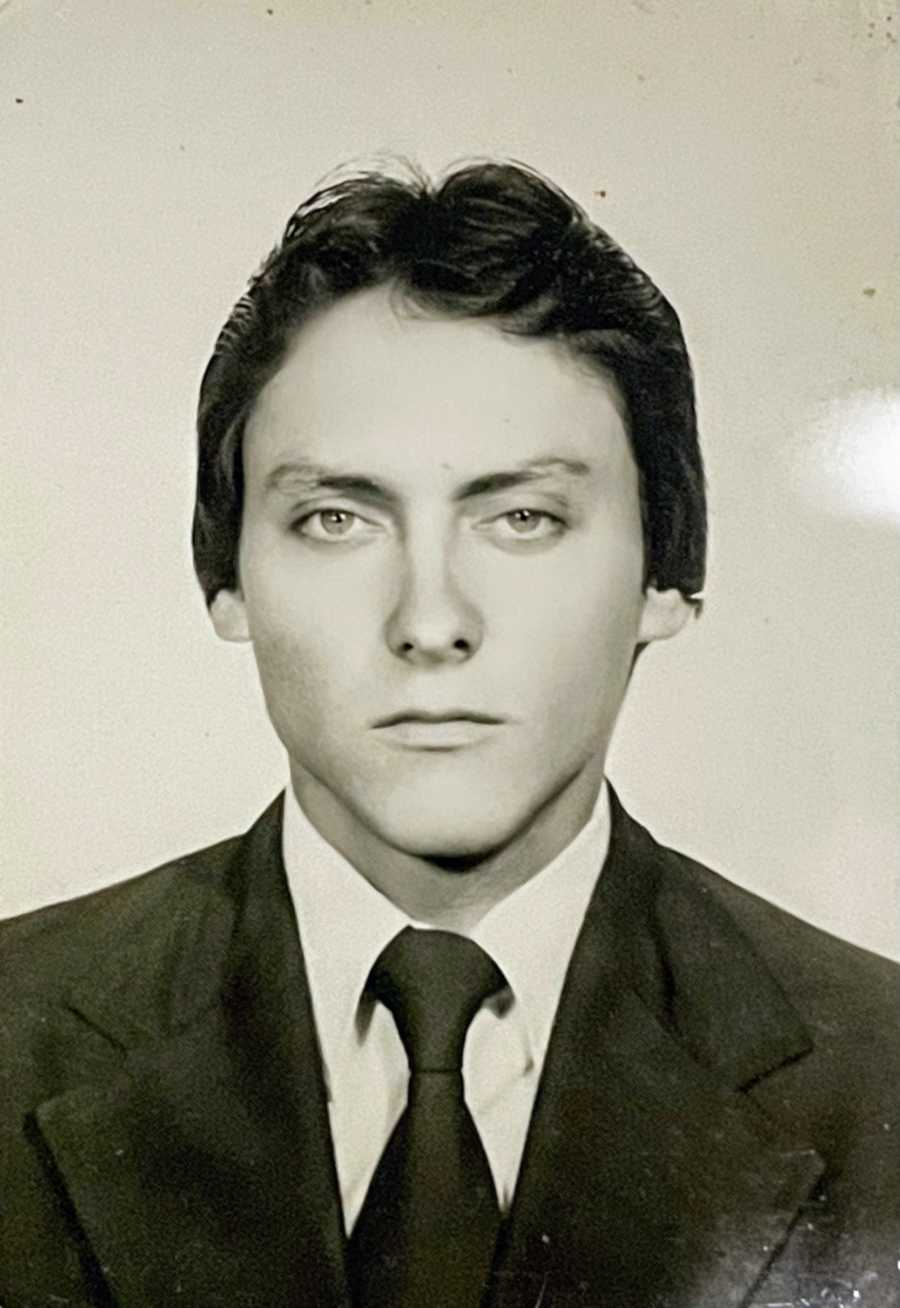 Black and white headshot of woman's dad, now deceased