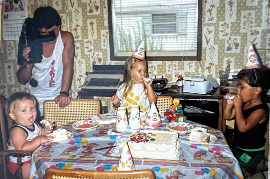 Dad uses old video recorder to capture one of his children's birthday parties