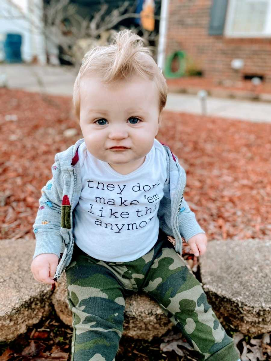 """Little boy in foster care gets his photo taken with a shirt that says """"they don't make 'em like this anymore"""""""