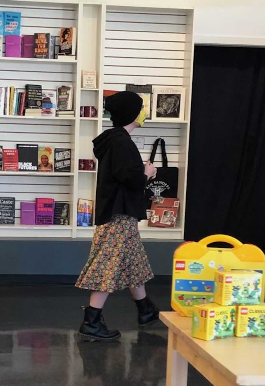 teenager in bookstore