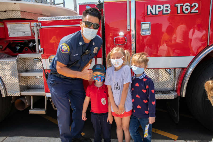 firefighter with two kids