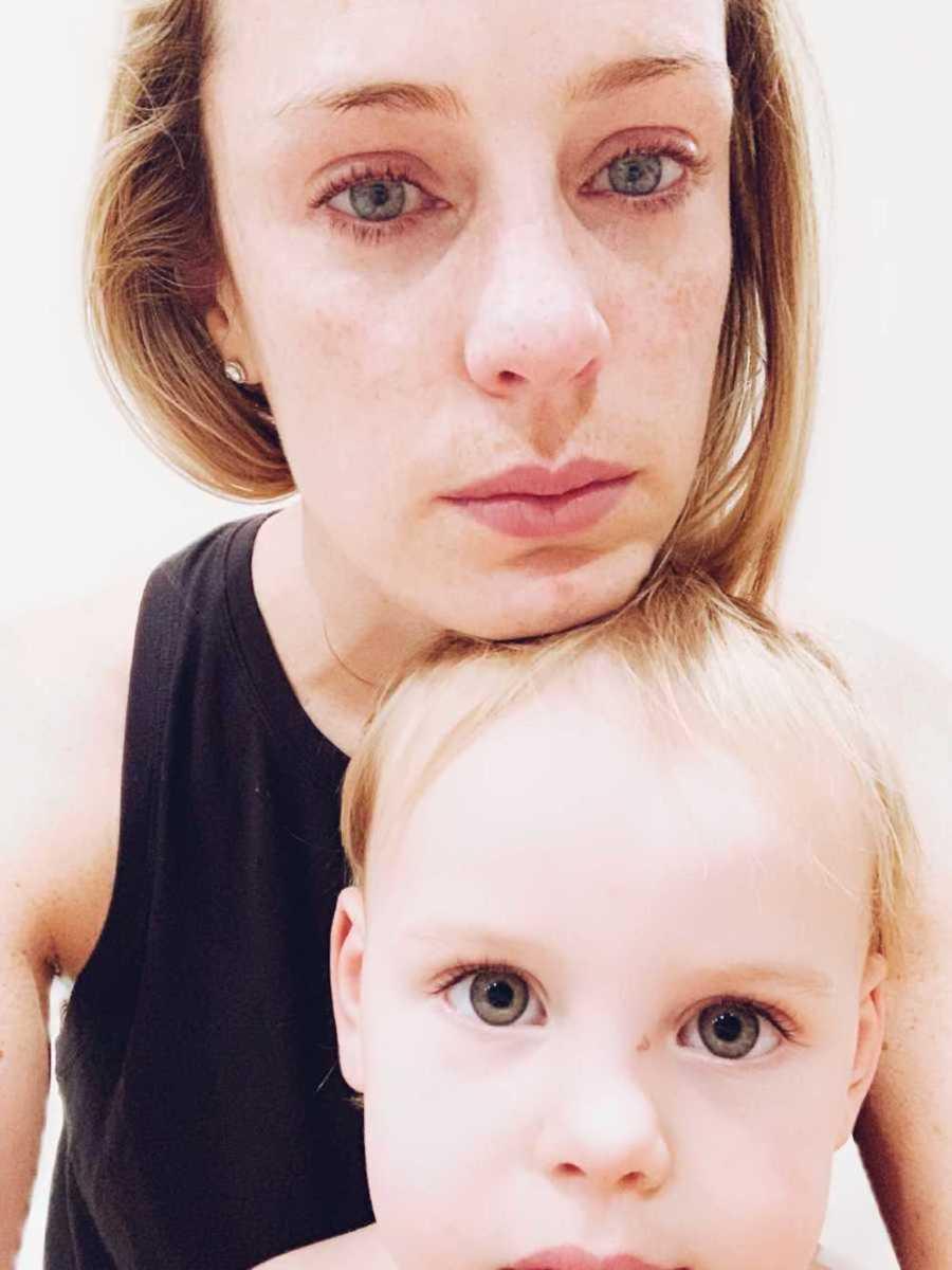 Sad mom with child