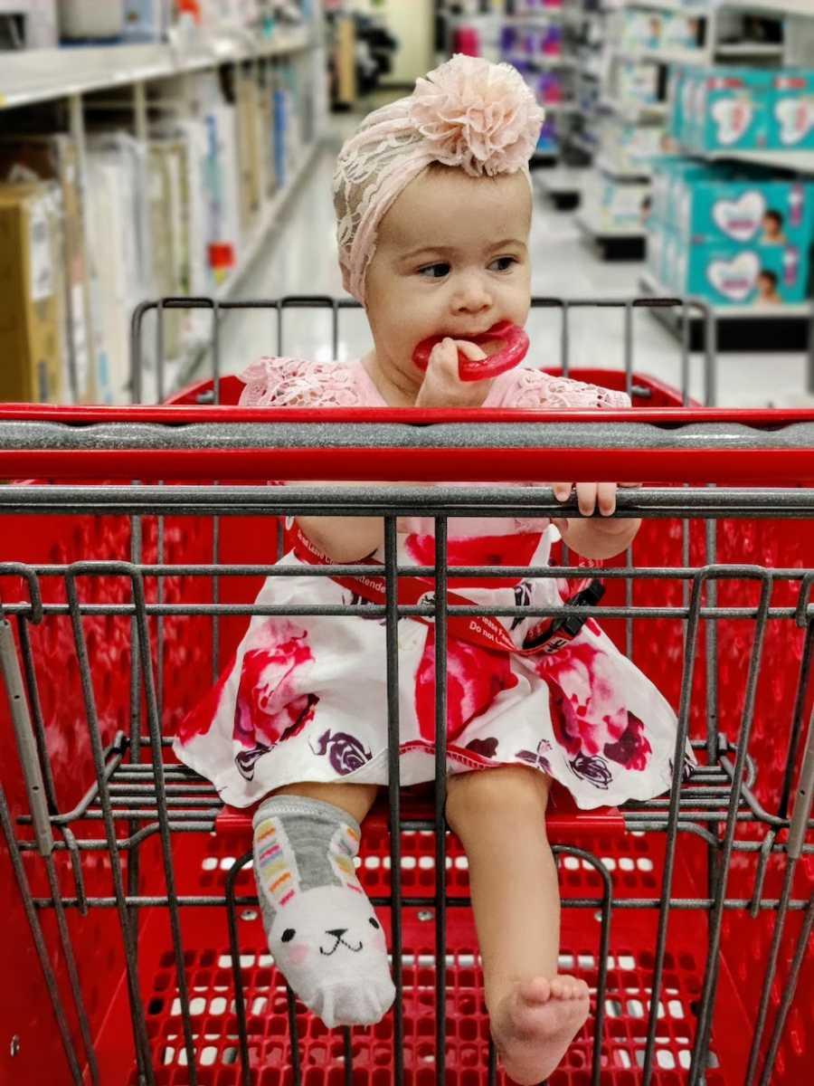 baby in Target shopping cart