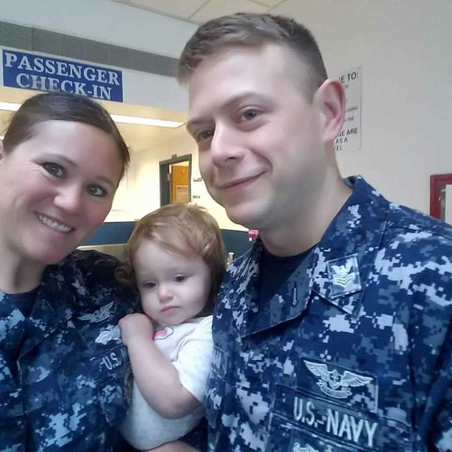 Military couple with daughter