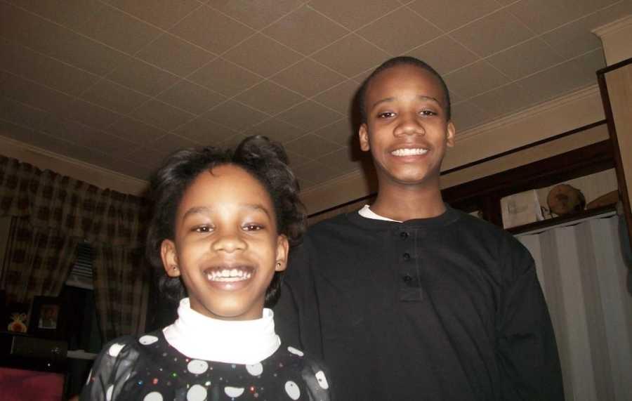 siblings smiling